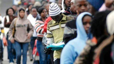 Unemployed Malawian youth applying for jobs