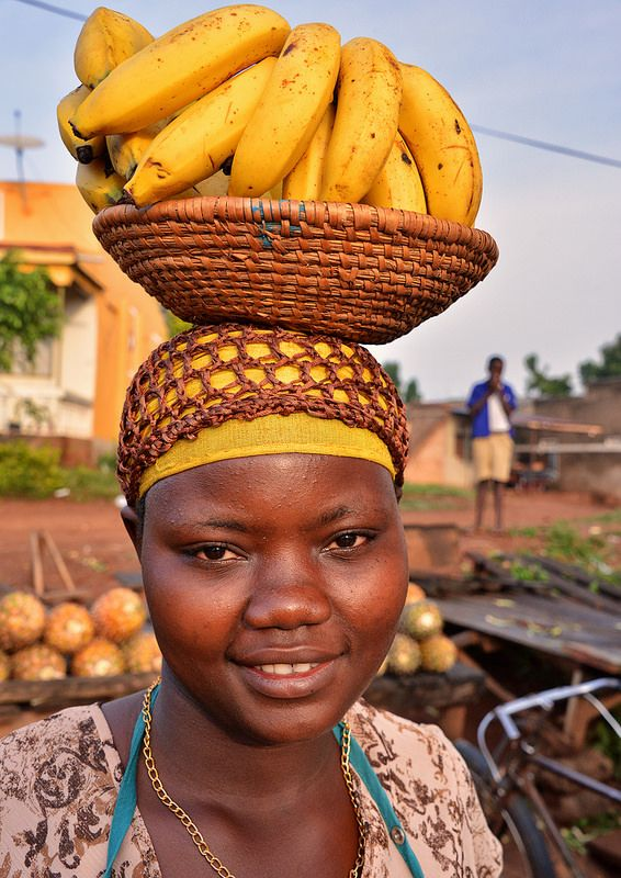 African woman selling banana