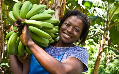 Black banana farmer smiling