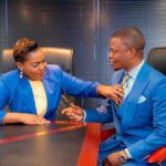Mary Bushiri Blue Outfit With Husband