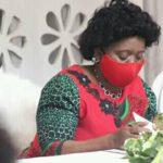 Monica Chakwera Wearing Red Mask